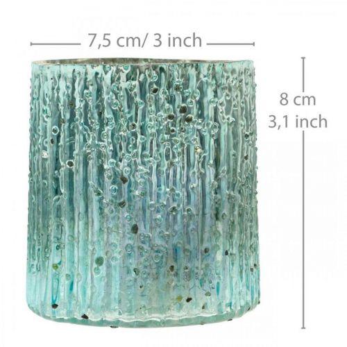Teelichtglas Blau Windlicht Glas Kerzendeko 8cm