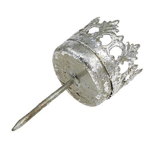 Teelichthalter Silber zum Stecken Ø3,8cm H9,5cm