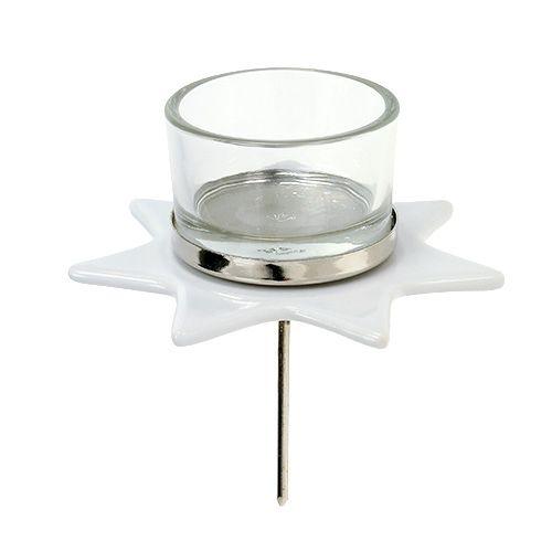 Teelichthalter Weiß Sternform mit Glas Ø10cm H10,5cm 2St