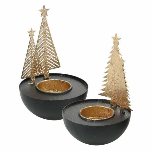 Teelichthalter Weihnachtstannen Glitter Schwarz, Golden Ø8,5cm 2St
