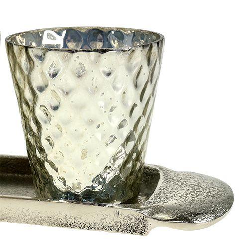 Tischdeko Teller mit 3 Teelichtgläser Silber Ø7cm H8cm