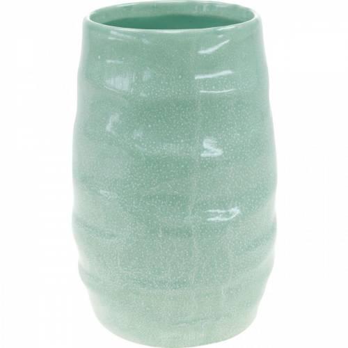Keramikvase gewellt, Vasendeko, Gefäß aus Keramik H20cm