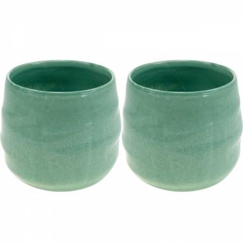 Übertopf aus Keramik, Pflanzschale, Keramiktopf gewellt Ø16cm 2St