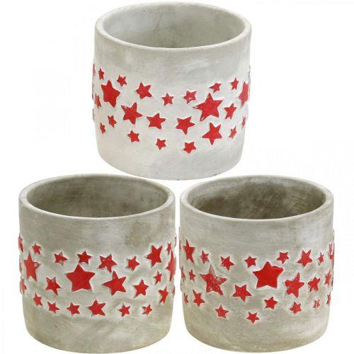 Übertopf mit Sternen, Keramikdeko Beton-Optik, Pflanzgefäß Weihnachten Ø12,5cm H11cm 3St