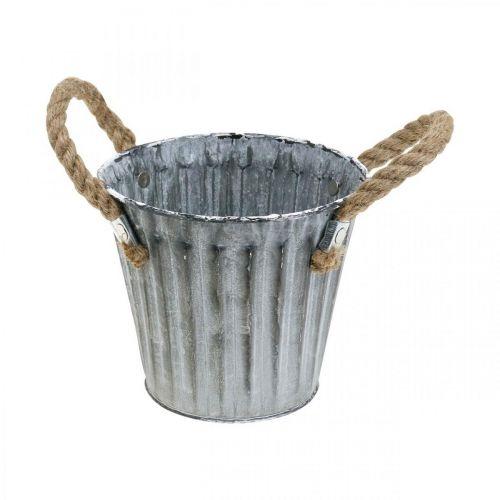 Pflanztopf mit Henkeln, Übertopf aus Metall, Deko Topf zum Bepflanzen Ø14,5cm