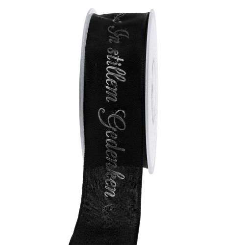 Trauerband Schwarz mit Aufschrift 40mm 20m