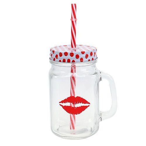 Trinkglas mit Deckel & Henkel Ø7cm H13,5cm