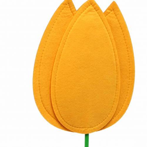 Filzblume Tulpe Gelb Sommerdekoration H88cm