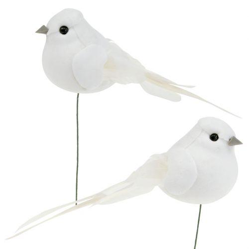 Vogel 14cm am Draht Weiß 6St