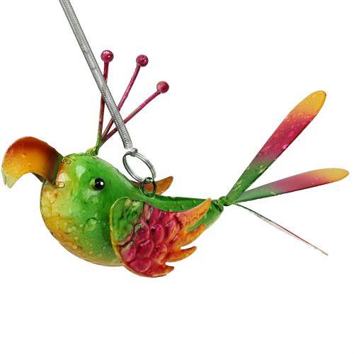 Vogel zum Hängen Grün, Pink, Orange 18,5cm
