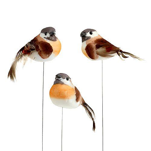 Vogel am Draht 8cm Braun-Orange 12St