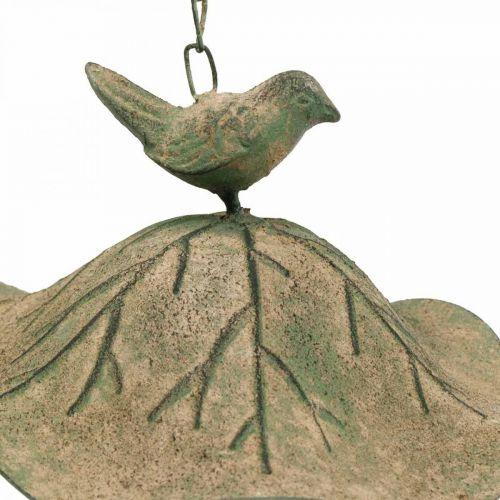 Vogeltränke hängend Metall Vogelbad Garten Antikoptik H28cm