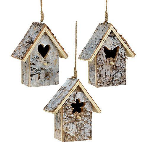 Vogelhaus mit Rinde sort. 12cm 3St