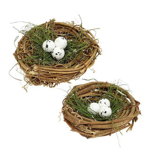 Vogelnest mit Eiern Ø9cm 6St