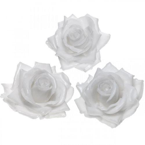 Wachsrose Weiß Ø10cm Gewachste Kunstblume 6St