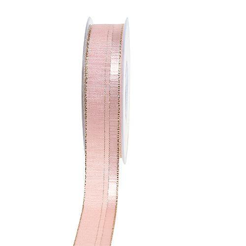 Weihnachtsband Hellrosa mit Goldkante 25mm 20m