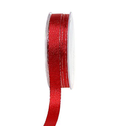 Weihnachtsband Rot mit Glitzer 15mm 20m