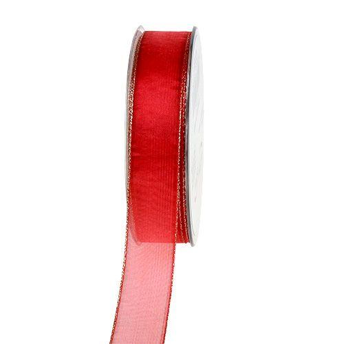 Weihnachtsband Rot mit Goldkante 25mm 20m