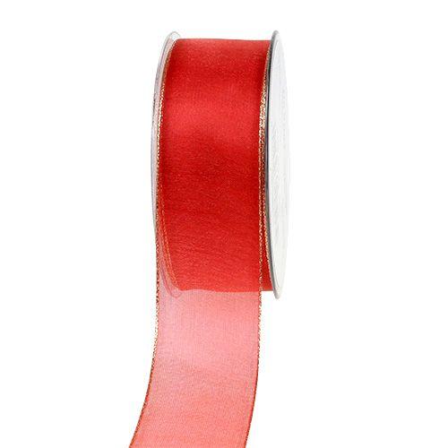 Weihnachtsband Rot mit Goldkante, formbar 40mm 20m