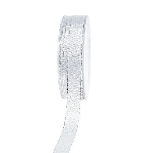 Weihnachtsband Silber mit Glitzer 15mm 20m