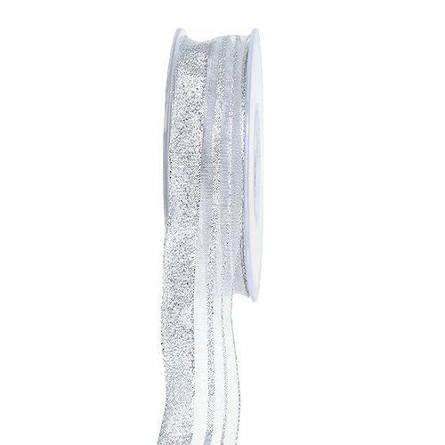 Weihnachtsband mit Streifen Silber 25mm 20m