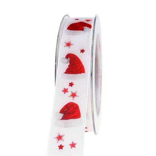 Weihnachtsband mit Mützen-Muster 25mm 15m