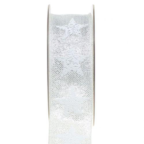 Weihnachtsband mit Sternmuster Weiß, Silber 40mm 15m