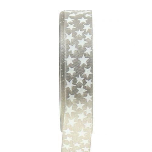 Weihnachtsband mit Stern Grau, Weiß 25mm 20m