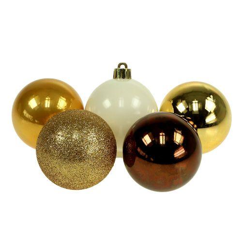 Weihnachtsdeko Plastikkugel Gold, Braun Mix Ø6cm 30St