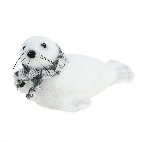 Weihnachtsdeko Robbe beflockt weiß 15cm 2St