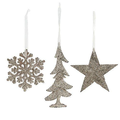 Weihnachtshänger Mix mit Glitter Hellgold 3St