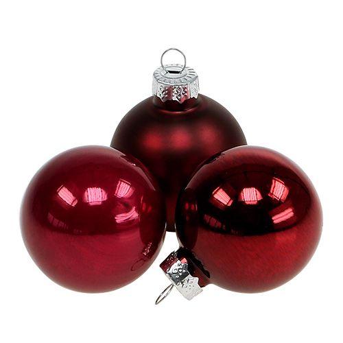 Weihnachtskugel Glas Ø4cm Bordeaux Mix 24St