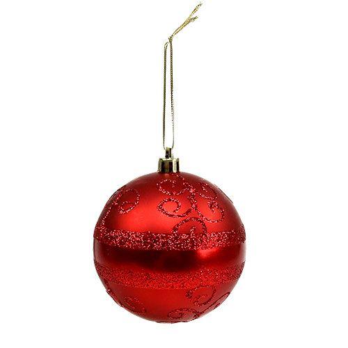 Weihnachtskugel Rot Ø8cm Plastik 1St