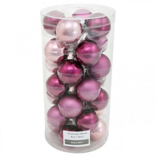 Mini-Baumkugeln, Weihnachtskugel-Mix, Christbaumanhänger Violett H4,5cm Ø4cm Echtglas 24St