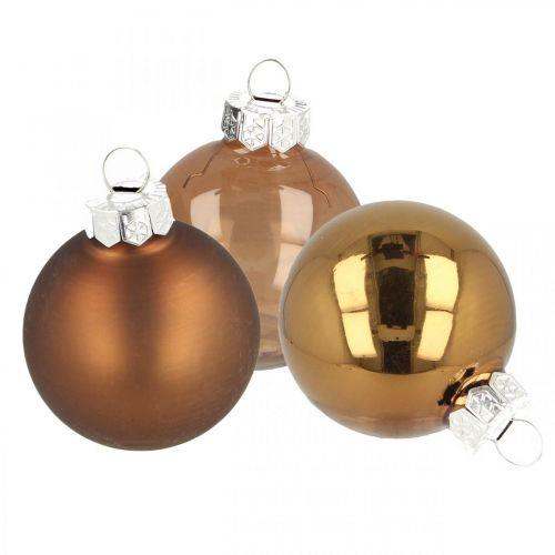 Weihnachtskugeln, Baumschmuck-Mix, Mini-Christbaumkugeln Braun H4,5cm Ø4cm Echtglas 24St