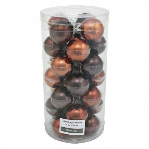 Christbaumschmuck, Weihnachtskugeln, Baumkugel-Mix Braun H4,5cm Ø4cm Echtglas 24St