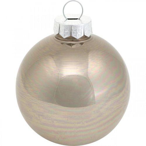 Christbaumkugel, Baumschmuck, Weihnachtskugel Beige/Perlmutt H6,5cm Ø6cm Echtglas 24St