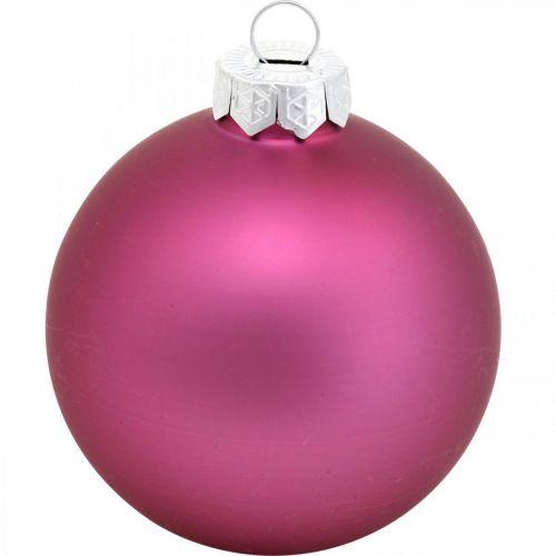 Weihnachtskugeln, Baumschmuck, Glaskugeln Violett H8,5cm Ø7,5cm Echtglas 12St
