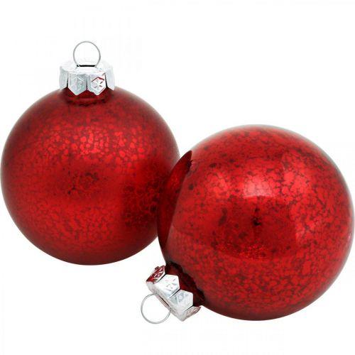 Christbaumschmuck, Baumanhänger, Weihnachtskugel Rot marmoriert H8,5cm Ø7,5cm Echtglas 14St