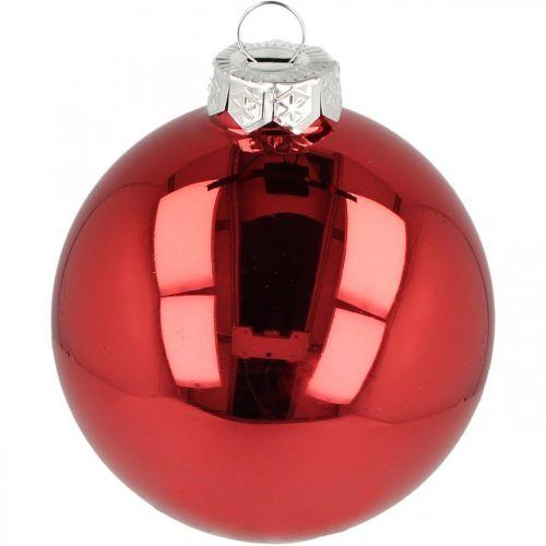 Christbaumkugel, Baumschmuck, Weihnachtskugel Rot H8,5cm Ø7,5cm Echtglas 12St