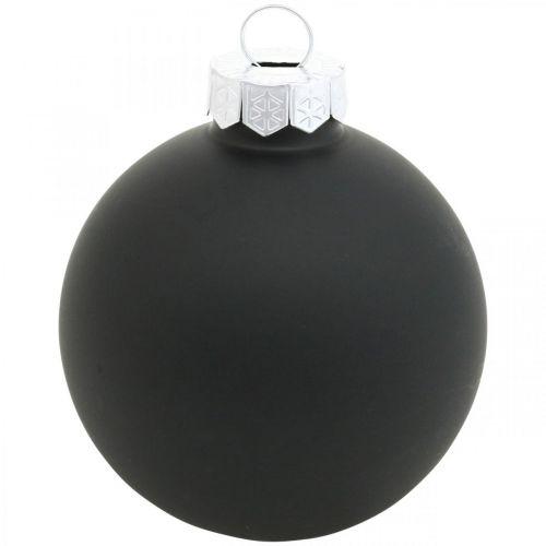 Weihnachtskugel, Christbaumschmuck, Glaskugeln Schwarz H8,5cm Ø7,5cm Echtglas 12St