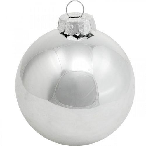 Glaskugel, Baumschmuck, Christbaumkugel Silbern H8,5cm Ø7,5cm Echtglas 12St