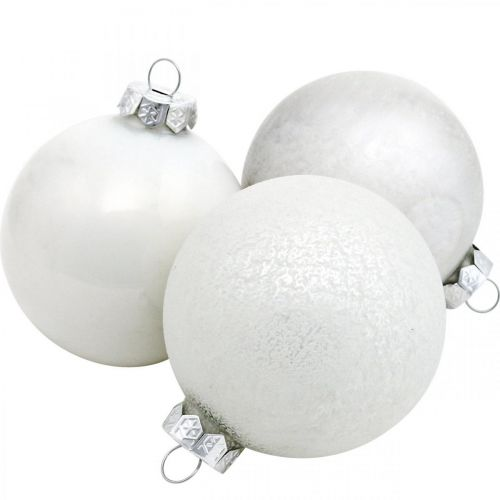 Weihnachtskugel, Schneeball, Christbaumschmuck, Glaskugel Weiß H8,5cm Ø7,5cm Echtglas 14St