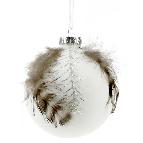 Weihnachtskugel mit Federschmuck weiß Ø8cm 4St