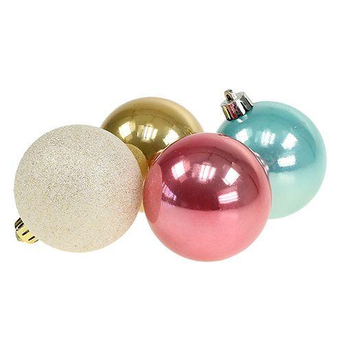 Weihnachtskugel-Set Plastik pastellfarbig Ø6cm 30St
