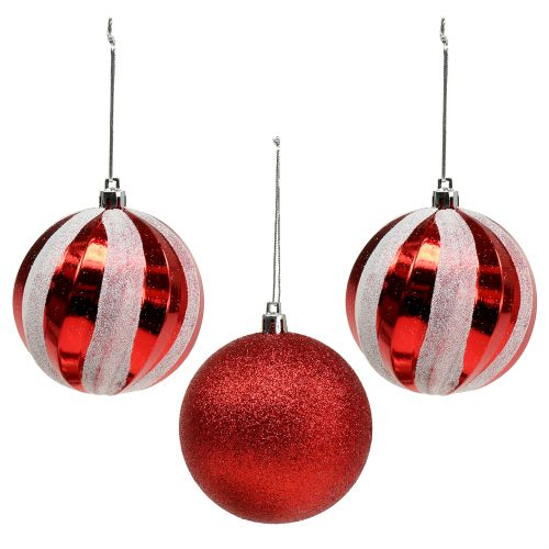 Christbaumkugeln Plastik.Christbaumkugeln Aus Kunststoff Rot Weiß ø8cm 3st