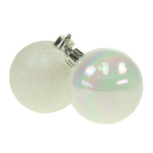 Weihnachtskugeln Plastik weiß-perlmutt Ø6cm 10St