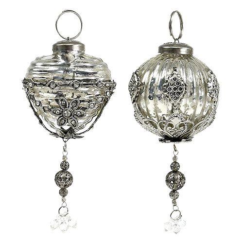 Weihnachtsschmuck Kugel, Herz 6cm Silber 2St