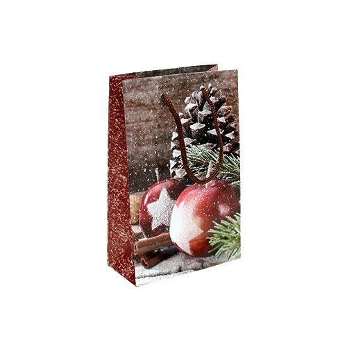 Weihnachtstüte mit Apfel, Zapfen Motiv 12x19cm 1St