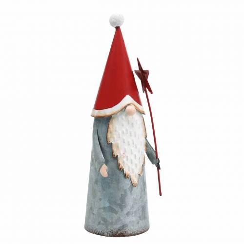 Weihnachts-Wichtel mit Stern 18cm Rot, Grau Metall 2St